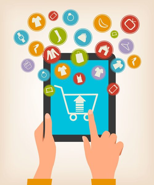 E-shopping concept hands touching a tablet with shopping icons vector